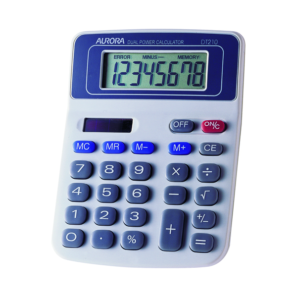 Aurora Wht/Blu 8-digit Calculator DT210