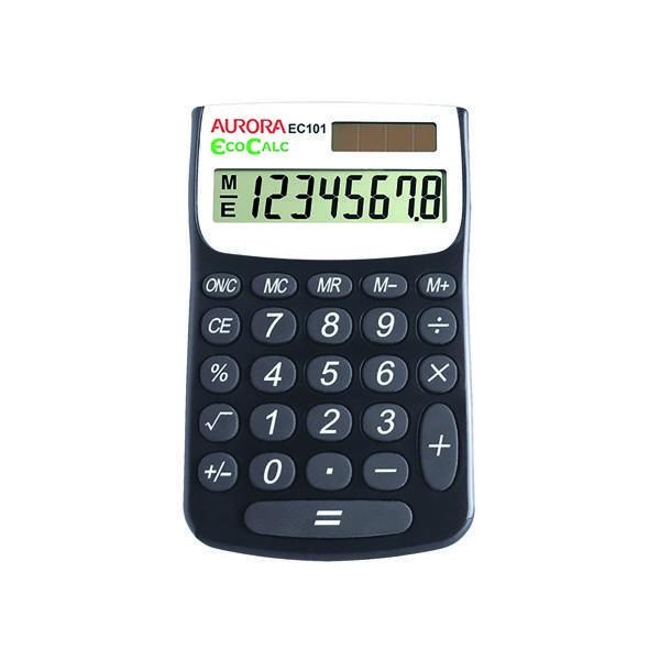 Aurora Blk/Wht 8-digit Calculator EC101