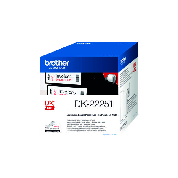 Brother Blk/Red DK-22251 Labelling Tape