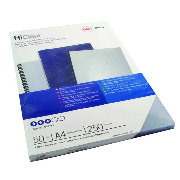 GBC A4 Clear Binding Covers 250Mic Pk50