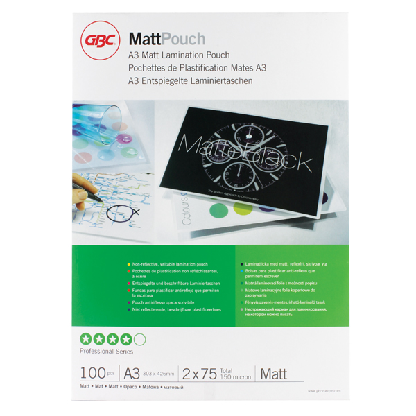 GBC Matt A3 Laminating Pouch 150Mc Pk100