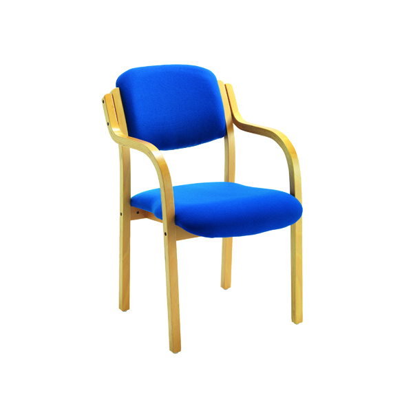 FR Wood Frame Side Chair/Arms Blue