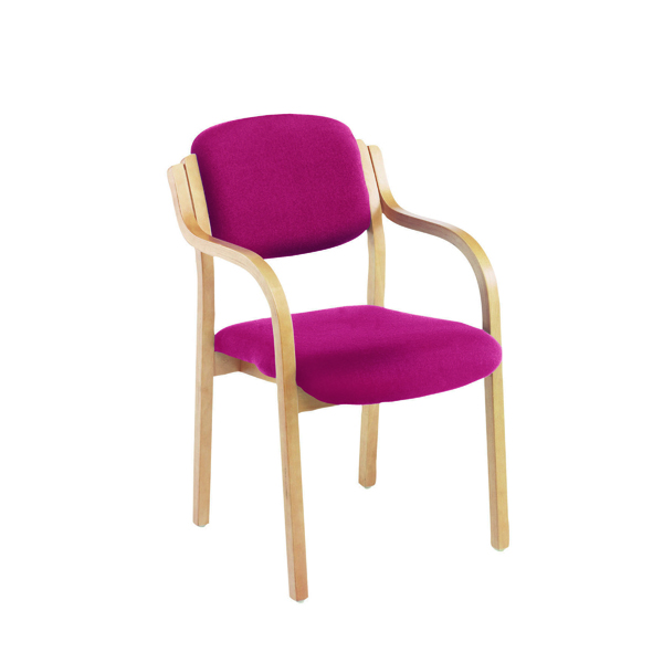 FR Wood Frme Side Chair/Arms Claret