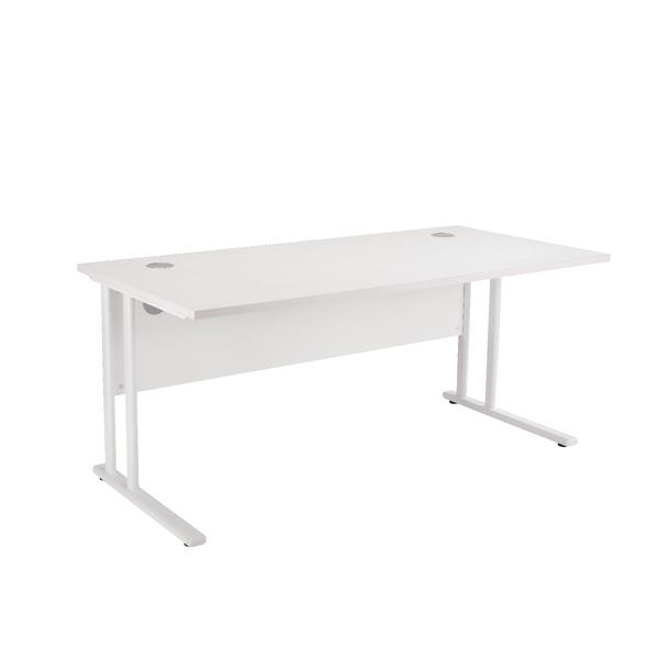 Fr First Rect Cant Desk 1200 Wht Wht Leg