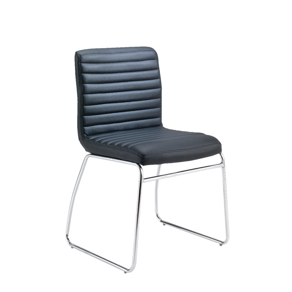 FR First Meet Chair Black PU Chrome Base