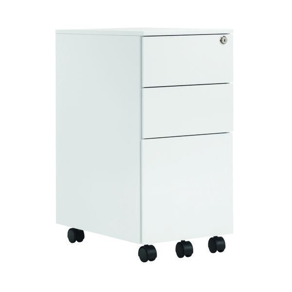 FR First Steel Slim U Desk Ped 3dr White