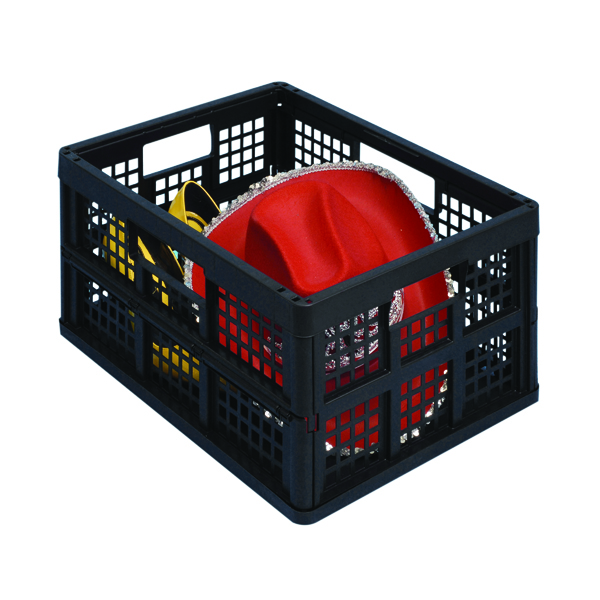 Really Useful 32L Folding Crate Blk Pk3