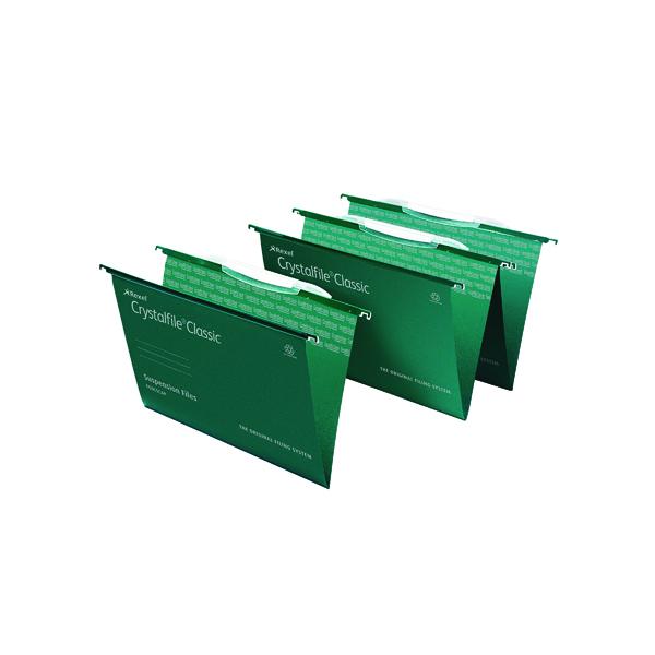 Rexel Crystalfile Links FS Green Pk50